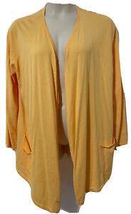 J JILL Black Open Drape Front Cardigan Duster Peach orange cotton Jacket XL New