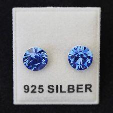 NEU 925 Silber OHRSTECKER 8mm SWAROVSKI STEINE saphir/blau/sapphire OHRRINGE