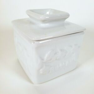White Square Ceramic Butter Crock. Holds 1 Stick Of Butter.