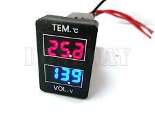 32x23mm LED Digital Voltmeter Temperature Meter Voltage & Temp Gauge For Toyota
