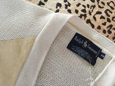 NWT Vtg Ralph Lauren Cotton & Suede Cardigan Sweater Med Leather Buttons $395