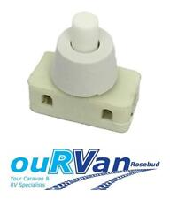SPST BEDLAMP SWITCH SP0735 PUSH BUTTON WHITE SINGLE POLE 240V 2A CARAVAN RV