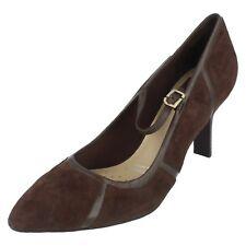 Donna Rockport Marrone scuro leather scarpe décolleté UK 4.5 /US 7M SK58782