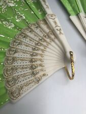3 Bright Green W/ Gold Tread Fabric Folding Hand Held Fans