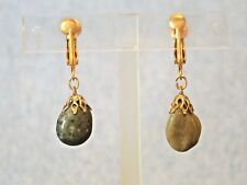 HANDCRAFTED DARK AGATE AND GOLD TONE RETRO DANGLE CLIP ON/SCREW BACK EARRINGS