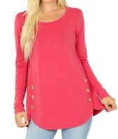Rose Plus Size Long Sleeve Scoop Neck X-Long Accent Buttons Blouse Top 1x/2x/3x