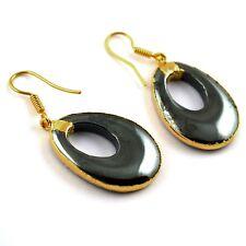 Plated Dangle Earring Woman Fashion Jewelry Large Gunmetal Fancy Hoop 24k Gold