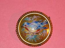LIMOGES Antique Enamel On Porcelain Blue Bird Pin With Gold Filled Cable Frame