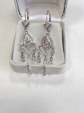 1/3 ctw Genuine Diamonds Chandelier Dangling 1.5 inch Drop Earrings 14k W Gold
