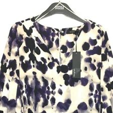 M&S Marks s6 Autograph Luxe Purple Animal Print Fluted Sleeves Blouse Top BNWT