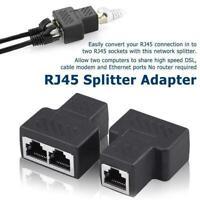 2 Port RJ45 Splitter Adapter LAN Network Ethernet Cable 1X Plug Connector G9J0
