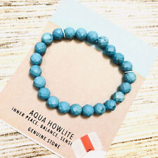 A-5 AQUA HOWLITE inner peace, balance, genuine stone faceted strch bracelet $75