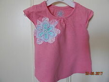MATALAN BABY GIRLS CUTE PINK TOP WITH FLOWER DECORATION SZ 3-6 M 100% COTTON