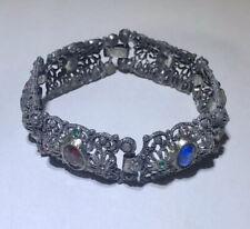 Antique Czech Glass Pot Metal Panel Bracelet