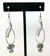 Long Dangle Silver Earrings With Clear Rhinestones And Metallic Silver Beads