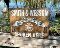 Smith & Wesson Spoken Here Rustic Metal Tin Sign Wall Decor Garage Man Cave Shop