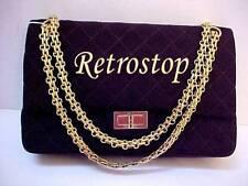 Vintage CHANEL 1970's Espresso Jersey Reissue Style Flap Handbag Purse Gold H/W