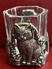 Vintage Candle Cat Glass Silver Metal Holder 2,8�