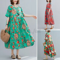 Womens Summer Bohemia Short Sleeve Casual Loose Floral Printed Tunic Shirt Dress