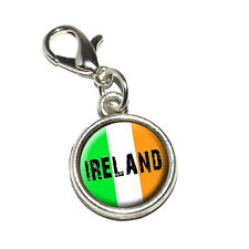 Ireland Irish Flag - Antiqued Bracelet Pendant Charm with Lobster Clasp