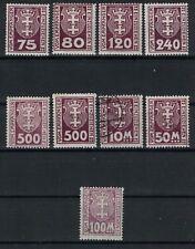 DANZIG:1922 SC#J5-J7,J9,J12,J21,J23,J24(9) MINT H - Danzig Coat of Arms