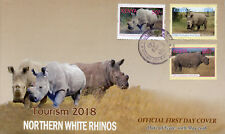 Kenya 2018 FDC Northern White Rhinoceros Rhinos 3v Set Cover Wild Animals Stamps