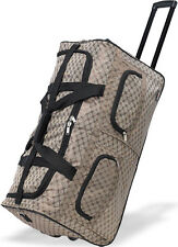 """30"""" Polyester Rolling Duffel Wheeled Luggage Suitcase Travel Duffel Bag - Beige"""