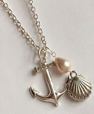 Silver Plated Shell Anchor Necklace Pearl Hawaiian Island Nautical Sea Life 30""