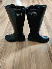 Michael Kors Zeppelin Logo Zipper Boots Black Girls Size 4