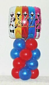 POWER RANGERS  -  FOIL BALLOON DISPLAY KIT - TABLE DECORATION - NO HELIUM NEEDED