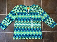 NWT Ruby Rd. Women's Multi-colored Print Top Shirt Blouse Sz S
