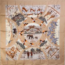 "Authentic HERMES Silk Carré 35"" Scarf TANZANIE Beige #8650"