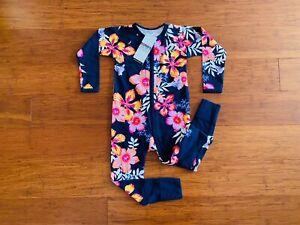 Bonds Baby Navy Blue Pink Orange Purple White Floral Zip Wondersuit Size 2 BNWT