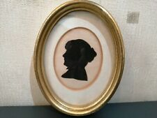 WATERCOLOUR  SILHOUETTE  PORTRAIT  OF  GEORGIAN  LADY  IN  GILT  FRAME