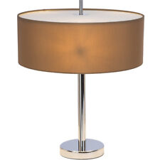 Lampe de Table Andria Tissu Abat-Jour Marron Clair Tabouret 3-flammige