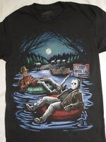 Freddy Krueger and Jason Voorhees In Inner Tube Camp Crystal Lake Horror T-Shirt