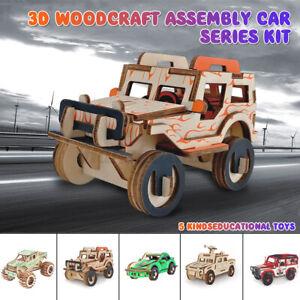 Car Series 3D Wooden Puzzle Jigsaw Woodcraft Kids Toy Model DIY Construction