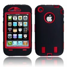 Body Armor Hybrid Shell Case Cover for Apple iPhone 3G / 3GS - Black & Red