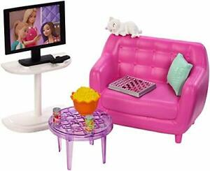 Barbie Indoor Furniture Set Living Room+Kitten Accessories Pack Couch Table TV
