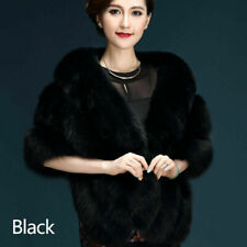Women Faux Fur Shrug Shawl Bride Wedding Winter Furry Fluffy Warm Thicken