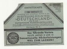 Billet D'Entrée Exposition Berlin 1936 Olympique Kunstaustellung ! (A3475