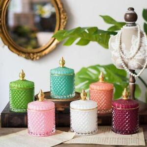 LUXURY Retro Vintage Style Coloured Glass Storage Jar Candle Holder Jewllery Box