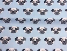 NEW! PolyCotton Fabric Small PUG DOG Light BLUE METRE Reduced Prices