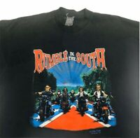 Vintage Motorcyle T Shirt Mens Size 2Xl Black Rumble In South Single Stitch Tee