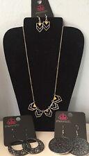 Paparazzi LOT of 3: Necklace Set +Drop Dangle Circle Earrings
