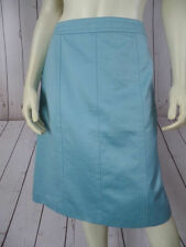 ANN TAYLOR Skirt 4 Light Blue Cotton Straight Lined Side Zip Topstitching CHIC!