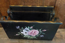 Vintage Folk Hand painted Black Wrought Iron Magazine Rack Gold trim Floral