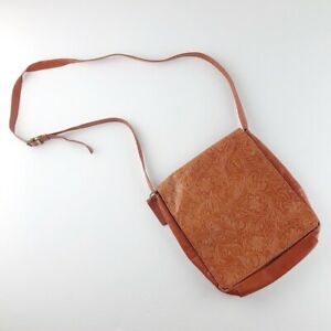 Vintage Tooled Leather Crossbody Bag
