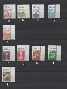 Berlin ex 673 - 677, 668 - 672, Eckrand, postfrisch! Bitte auswaehlen! #p616