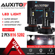 2X AUXITO 5202 H16 LED Fog Light Driving Bulb 6000K Ice White 2600LM CSP EOA